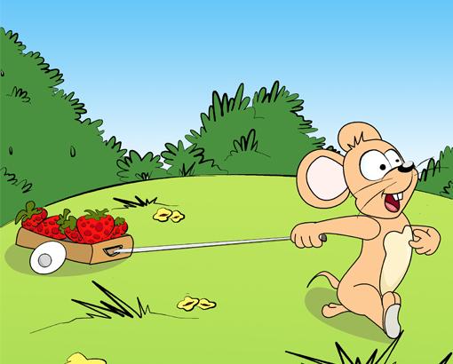 小老鼠找到一些草莓。