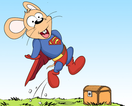 Supermouse jumps over the box.