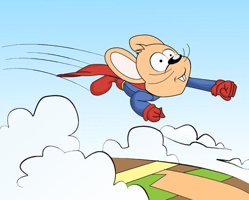 老鼠超人飞起来了